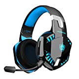 Auriculares Gaming PS4, PHOINIKAS Wired Gaming Auriculares für PS5, Xbox One, PC, Auriculares inalámbricos con Sonido Envolvente de Graves 7.1, Noise Cancelling-Mik, LED Licht - Blue