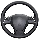 QSONGL Black Leather Car Steering Wheel Cover,For Mitsubishi Outlander 2013 2014 Mirage 2014 ASX L200 2015 2016
