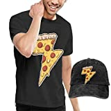 AYYUCY Camisetas y Tops Hombre Polos y Camisas, Unisex Adult Cheesy Thunder Pizza Fashion Men's T-Shirt and Hats Youth & Adult T-Shirts