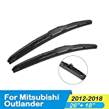 LYSHUI Car Wiper Blade,For Mitsubishi Outlander 2003 2004 2005 2006 2007 2008 2009 2010 2011 2012 2013 2014 2015 2016 2017 2018