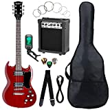 Set completo de guitarra eléctrica McGrey Rockit Doble Cut rojo cereza