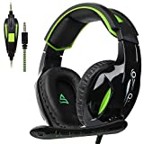 SUPSOO G813 Auriculares para Juegos Xbox One PS4 3.5 mm con Cable Over-Ear Control de Volumen del micrófono con Aislamiento de Ruido para Mac/PC/Laptop / PS4 / Xbox One - Negro