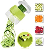 Spiralizer Vegetable Chopper, Hand Held 4 in 1 Vegetable Spiralizer Slicer Food Chopper Cutter Calabacín Fideos y verduras Pasta y espagueti para baja en carbohidratos/Paleo/Gluten