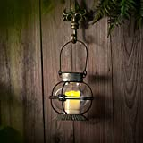 Glasseam Linterna De Vela De Metal Antiguo, Colgante/Sobremesa Vintage Mantle Decor Farmhouse Wall Candle Holder Adecuado para Vela LED, Centro De Mesa De Boda Rústica