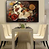 IHlXH Cereal Spice World Map Cocina Lienzo Pintura póster e Impresiones Chili Food Wall Art Picture Living Room A2 50x70 sin Marco