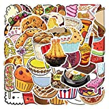 50PCS Delicious Food Stickers Pizza Fries Sushi Burger Biscuit Cute Cartoon Decal Sticker For DIY Notebook Waterproof Sticker